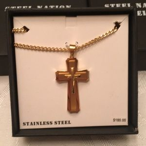 NWT - Men's stainless Steele cross necklace